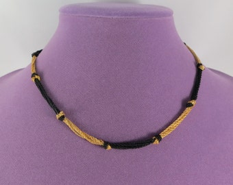 Black gold two tones Napier knotted chain necklace