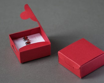 "Red Earrings Eco Friendly Gift Box Ring Box Paper Small Jewelry Box 2"" / 5cm Square Box Packaging Supplies Cuff links Box Christmas Box"