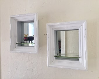 Vintage mirror shelf's, box style wood and glass, white, distressed, set of two