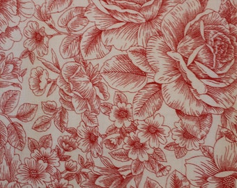 Opposites Attract by Paintbrush Studio, red outlines of flowers on white background,   Sold by the Half Yard