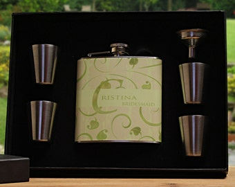 Bridesmaid Gift, Personalized Flask Gift Set for Bridesmaids, Custom Flask Set, Green, Spring Wedding