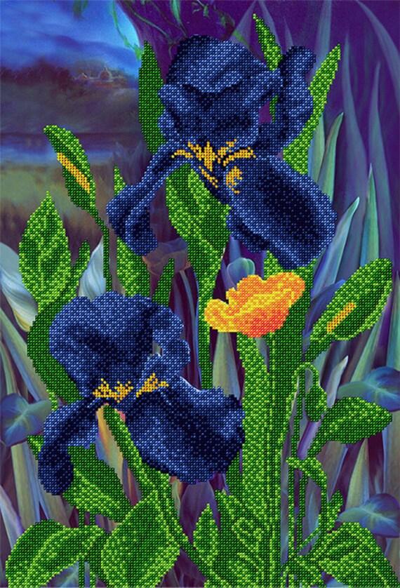 Blue Irises DIY beaded embroidery kit, beading on needlepoint kit, housewarm gift Idea, DIY beading kit