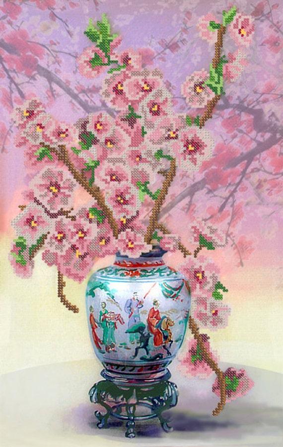 Japanese Vase DIY bead embroidery kit Needlepoint beading House warming gift idea craft set