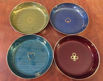 Colorful Catherine Holm Norway Small Enameled Dishes-Ace of Spades, Hearts, Diamonds, Clubs.  Free shipping