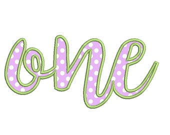 CURSIVE ONE Appliqué Design - Machine Embroidery - Instant Download - Multiple Sizes