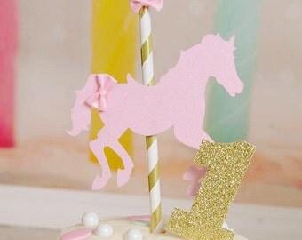 Carousel cake topper, horse cake topper, carousel horse cake topper