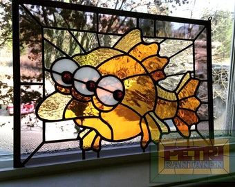 "10.5""x14.5"" Blinky the Fish stained glass panel"