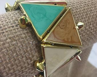Triangle Color-Block Bangle Bracelet