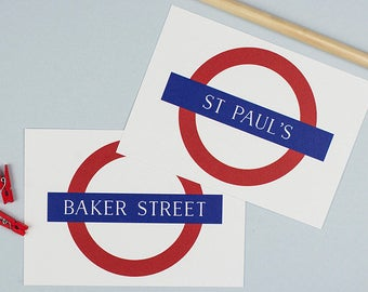 Printed London Tube Station Table Name Cards. London Underground Wedding. Personalised With Any Station Name. A6.
