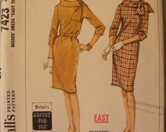 1964 One Piece Dress Mid Century Uncut McCall's Sewing Pattern 7423 Size 14 16 Bust 34 36