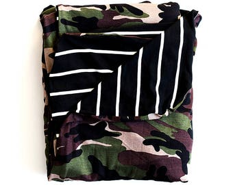 Camouflage with black and white stripe throw blanket