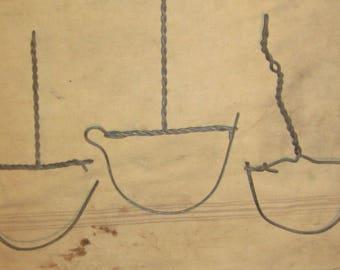 Gutter hooks hangers, antique.  wire set of 14