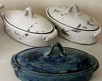 2QT Handmade Oval Ceramic Casserole with Lid