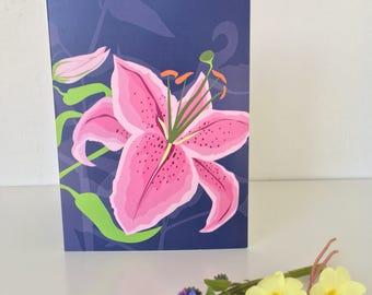 Stargazer Lily Greeting card - floral - card for gardener - flower - spring - gardens