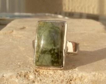 Stone Statement Ring, Green Jasper Sterling Silver Ring, Green Stone Ring, Gemstone Statement Ring, Cushion Gemstone Silver Ring