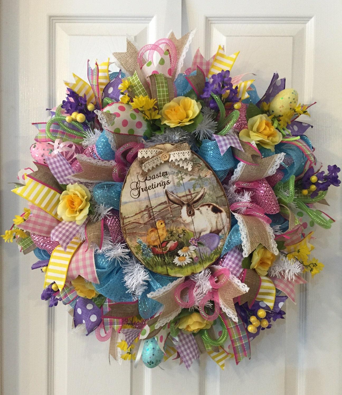 Easter Wreath Bunny Wreath Easter Mesh Easter Front Door