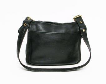 vintage Coach black leather shoulder bucket bag cross body purse
