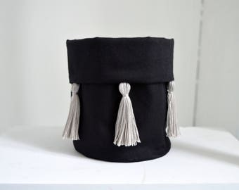 small storage basket/ cute fabric storage basket with tessel decoration/ black grey home decor/ nursery decor