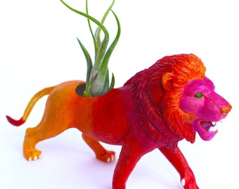 Original Colorful Abstract Red, Pink, Orange, and Yellow Fire-Inspired Lion Planter - Upcycled Hand-painted Animal Figurine