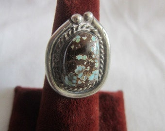Old Native American Sterling Silver & Turquoise Ring