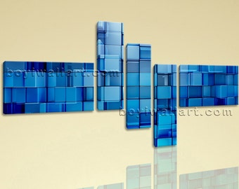 Huge Blue Block Abstract Contemporary Wall Art Print On Canvas Living Room, Huge Abstract Wall Art, Living Room, Allports