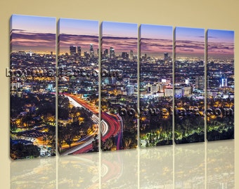 Los Angeles Wall Art los angeles skyline | etsy