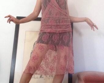 Take me to Santorini, pink lace midi dress