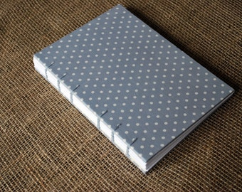 Grey polka dot hardback lined fabric journal A5