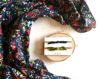 navy floral baby blanket headband bundle | flannel receiving blanket | baby shower gift baby gift baby girl swaddle blanket flannel