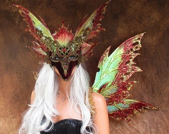 Adult Fairy Wings and Mask**RTS**Iridescent Red/Gold**FREE SHIPPING**Costume/Masquerade/Weddings