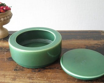 Green Ceramic Dish with Lid 70s Kitchen Storage Bowl Lidded Round Jar Scandinavian Pottery @205