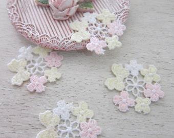 Set of 10pieces Cotton Flower applique/NA85-Flowering Applique/Shabby Chic Applique/2 tone color Applique