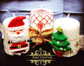 Christmas special SET of 3 CANDLES. Handmade Christmas candles. Christmas Decor.