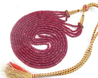 """25% shop sale Natural heated Ruby AA Quality Precious Gemstones, Rich Lustrous Color Medium faceted Rondelles 3-5 mm 4 strand 1 necklace 22"""""""