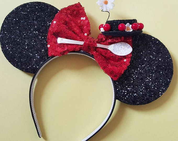 Mary Poppins Mouse Ears Headband | Spoonful of Sugar | Mary Poppins Headband Minnie Ears | Spoonful of Sugar Mouse Ears| Mary Poppins