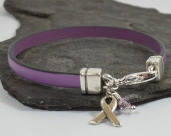 Pancreatic Cancer Awareness Bracelet - Purple 5mm Flat Leather Bracelet with Awareness Ribbon and Lobster Clasp (5FA-198)