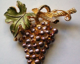 Grape Cluster Pin with Rhinestone Accents - 5088