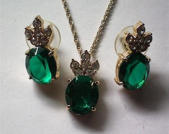 Emerald Green Rhinestone Necklace & Earring Set - 5313