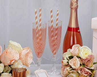 Rose Gold stripey paper drinking straws, perfect for weddings/ parties etc