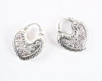 Vintage Embossed Sterling Heart Earrings Lever Back