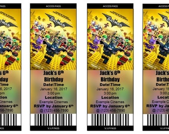 The Lego Batman Movie Ticket Invitation Style #2 - (Print at Home Personalized Digital File)