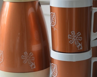 Copper WEST BEND THERMO- SeRv Hot/Cold Thermos Pitcher & Cups ~ 5 Pc Set