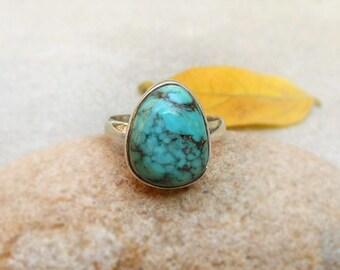 Turquoise Ring, December Birthstone, Boho Ring, Turquoise Jewellry Sterling Silver Ring Turquoise Stone Ring Gift Ideas Turquoise Ring Sz 8