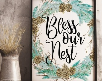 Bless Our Nest Easter Decor Easter Table Decor Easter Printable Instant Download Digital Download Wall Art Floral Blessing Easter Wreath