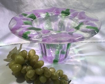 A066  Hand blown glass bowl with 2 inch rim