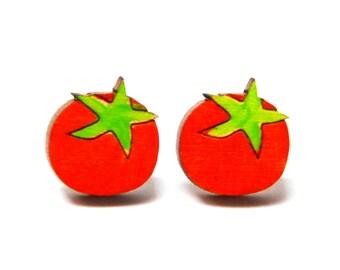 Tomato Earrings · Tomato · Painted Tomato Stud Earring · Wood Tomato Earring