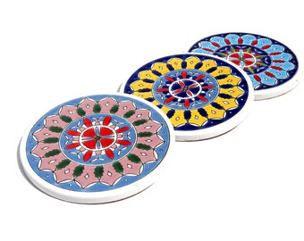 Mandala Ceramic Tile Coaster, Drink Coaster, Greek Ceramic, Coasters, Coasters Set, Bohemian Coaster, Mandala Coaster, Boho Decor, Mandala