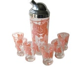 RESERVED Pink Elephant Cocktail Shaker and Six Glasses - Vintage Barware - Happy Hour Bar Set