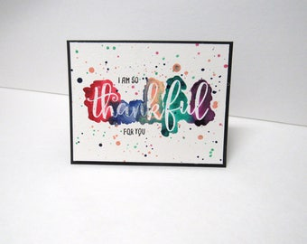 Handmade greeting card - I am so thankful for you - Thank you card - Friendship card - Just because card - Gift for him - Gift for him