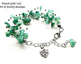 Raw Amazonite Floating Bracelet Green Blue Gemstone Glass Seed Bead Multistrand Air Invisible Crochet Boho Healing Crystal Stone Heart Charm
